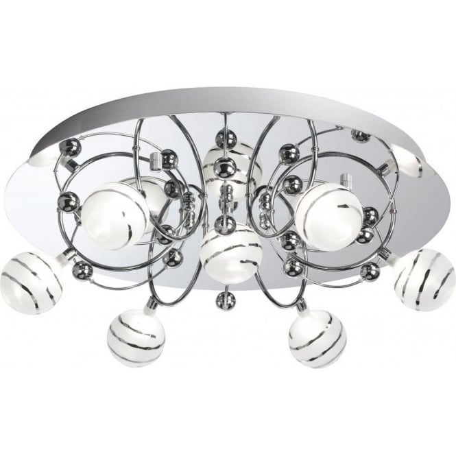 Searchlight 8657-7CC Bauble 7 Light Ceiling Light Polished Chrome