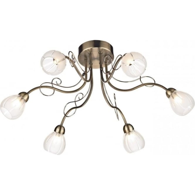Dar FUS6475 Fusion 6 Light Ceiling Light Antique Brass