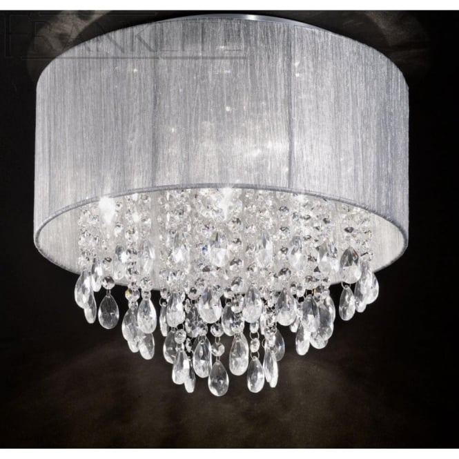 Franklite FL2281/4 Royale 4 Light Crystal Ceiling Light Translucent Silver