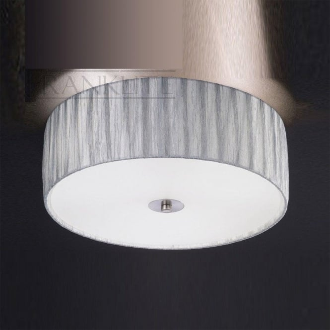 Franklite FL2283/3 Lucera 3 Light Flush Ceiling Light Translucent Silver