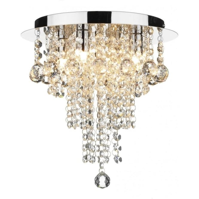 Dar RUB0450 Ruby 4 Light Flush Ceiling Light Crystal Polished Chrome