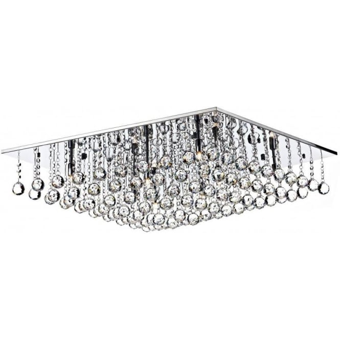 Dar ABA4750 Abacus 8 Light Crystal Flush Ceiling Light Polished Chrome