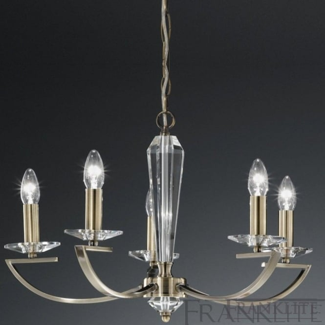 Franklite FL2242/5 Artemis 5 Light Crystal Ceiling Light Bronze