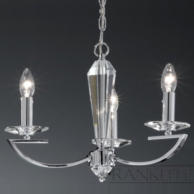 Franklite FL2241/3 Artemis 3 Light Crystal Ceiling Light Polished Chrome