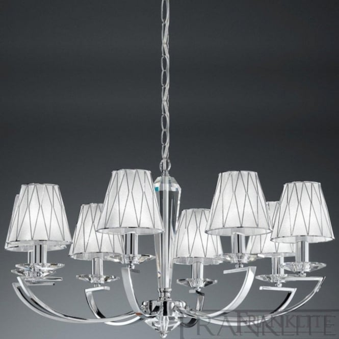 Franklite FL2241/8 Artemis 8 Light Crystal Ceiling Light Polished Chrome