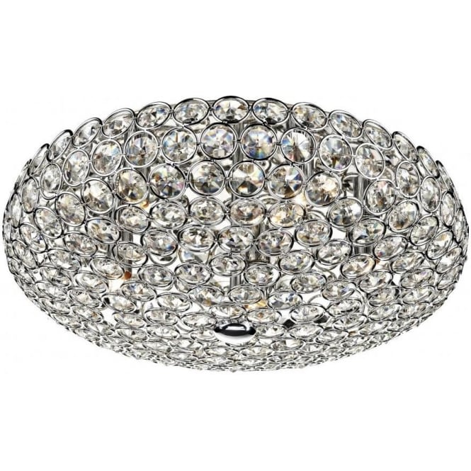 Dar FRO5450 Frost 5 Light Crystal Ceiling Light Polished Chrome