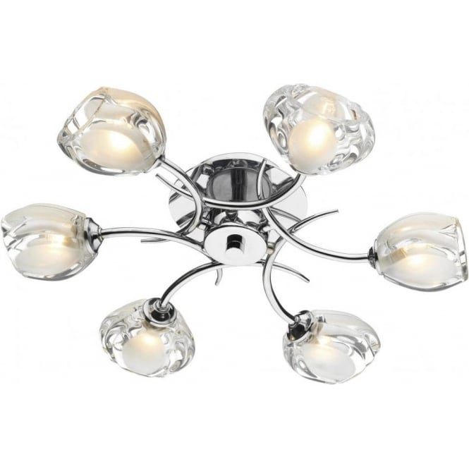 Dar ZAG0650 Zagreb 6 Light Semi-Flush Ceiling Light Polished Chrome