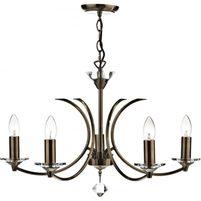Dar MED0575 Medusa 5 Light Ceiling Light Antique Brass