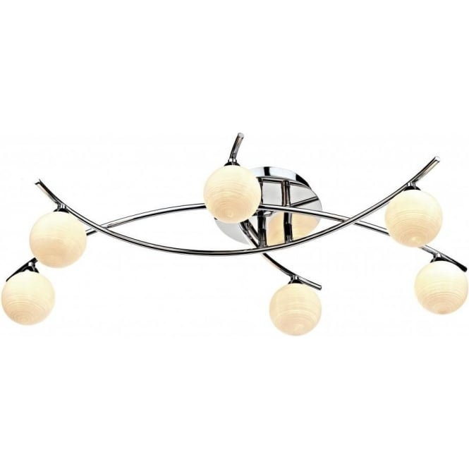 Dar TET6450 Tetra 6 Light Semi-Flush Ceiling Light Polished Chrome
