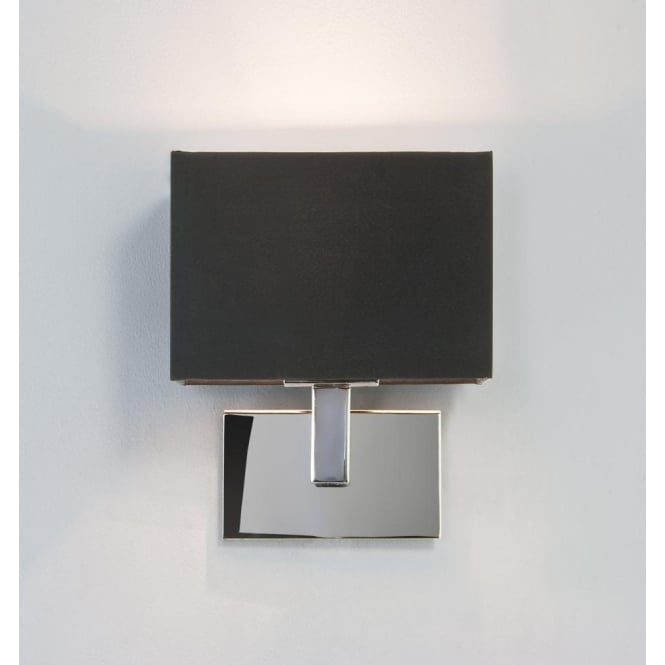 Astro 0567 Connaught Wall Light Polished Chrome With Black Shade