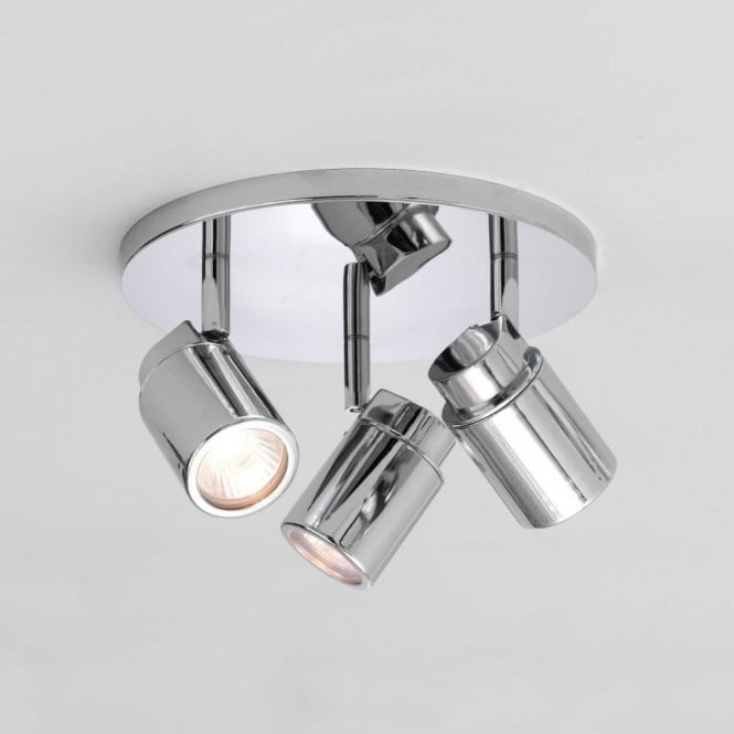 Bathroom Lights Ip44 astro 6107 | como triple round 3 light ceiling spotlight polisghed
