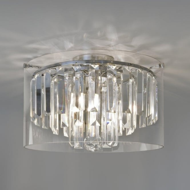 Astro 7169 Asini 3 Light Bathroom Crystal Ceiling Light IP44 Polished Chrome