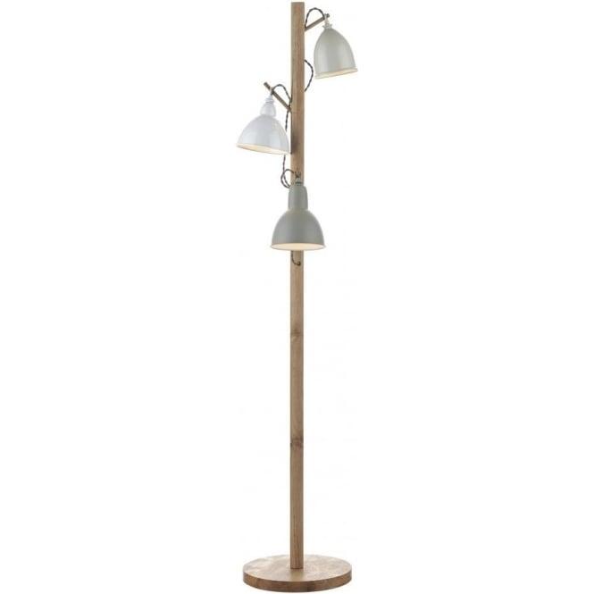 Dar bly4943 3 light floor lamp blyton wooden with metal painted shades bly4943 blyton 3 light floor lamp woodencream aloadofball Images