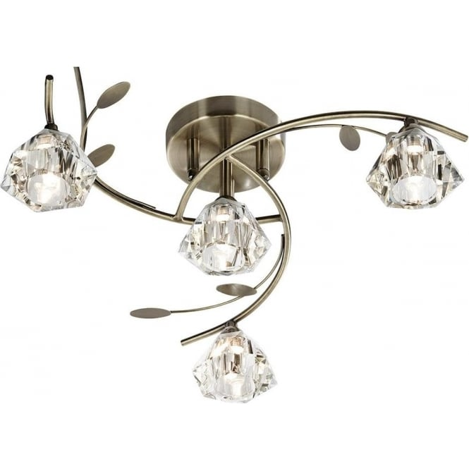 Searchlight 2634-4AB Sierra 4 Light Ceiling Light Antique Brass