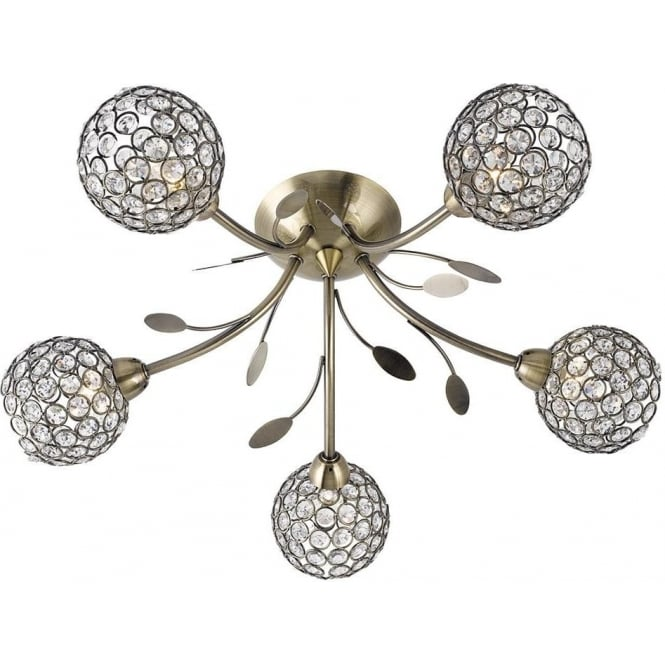 Searchlight 6575-5AB Bellis II 5 Light Semi-flush Ceiling Light Antique Brass