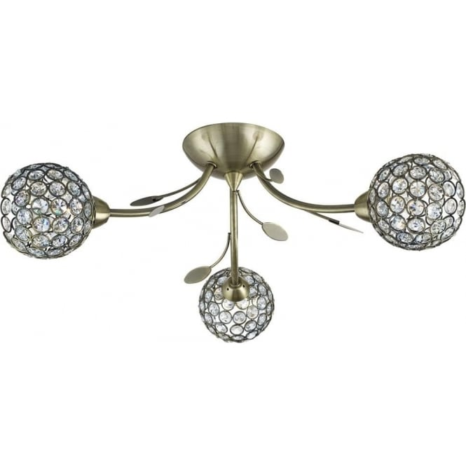Searchlight 6573-3AB Bellis II 3 Light Semi-flush Ceiling Light Antique Brass