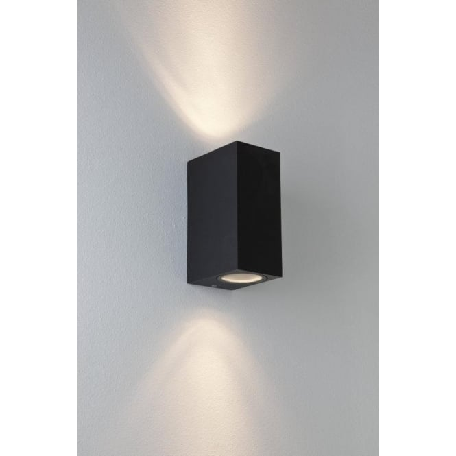 Astro 7128 chios 2 light outdoor wall light black for Luminaire mural exterieur led