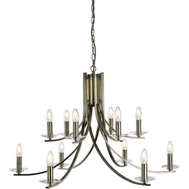 Searchlight 41612-12AB Ascona 12 Light Ceiling Light Antique Brass
