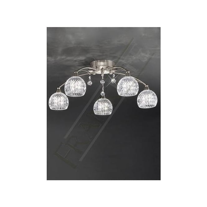 Franklite FL2295/5 Jura 5 Light Ceiling Light Satin Nickel