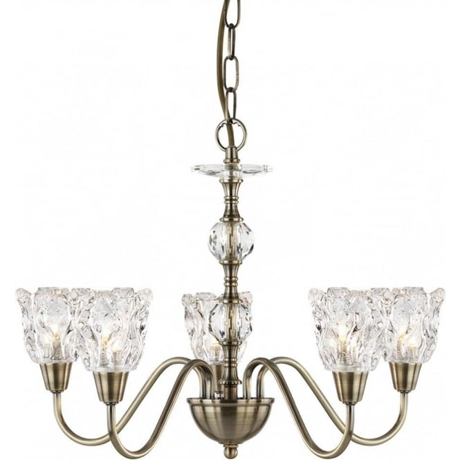 Searchlight 6255-5AB Monarch 5 Light Ceiling Light Antique Brass
