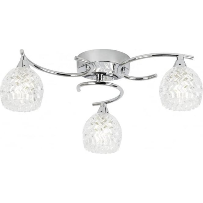 Endon BOYER-3CH Boyer 3 Light Ceiling Light Polished Chrome