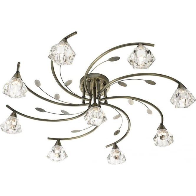 Searchlight 2639-9AB Sierra 9 Light Ceiling Light Antique Brass