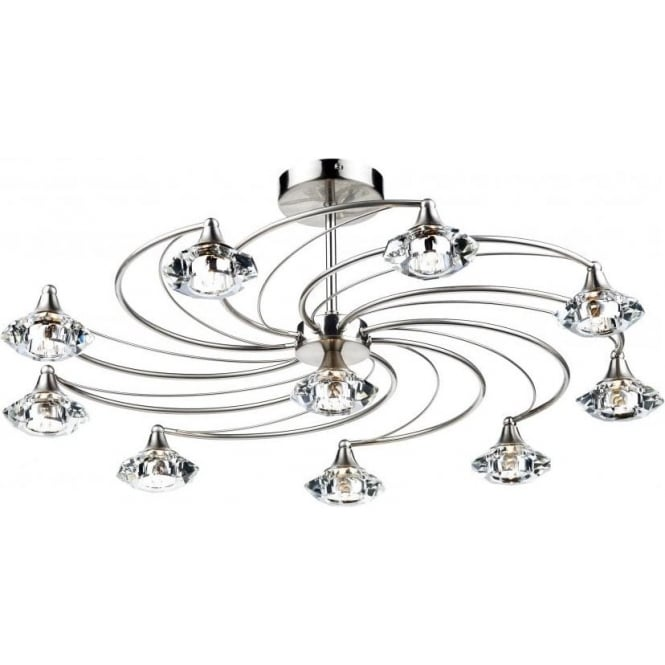 Dar LUT2346 Luther 10 Light Crystal Ceiling Light Satin Chrome