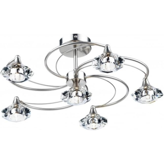 Dar LUT0646 Luther 6 Light Crystal Ceiling Light Satin Chrome