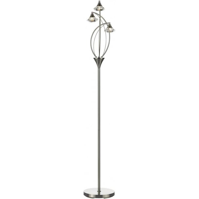 Dar LUT4946 Luther 3 Light Crystal Floor Lamp Satin Chrome