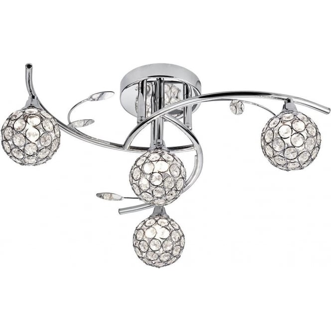 Searchlight 7024-4CC Dimple 4 Light Semi-flush Ceiling Light Polished Chrome