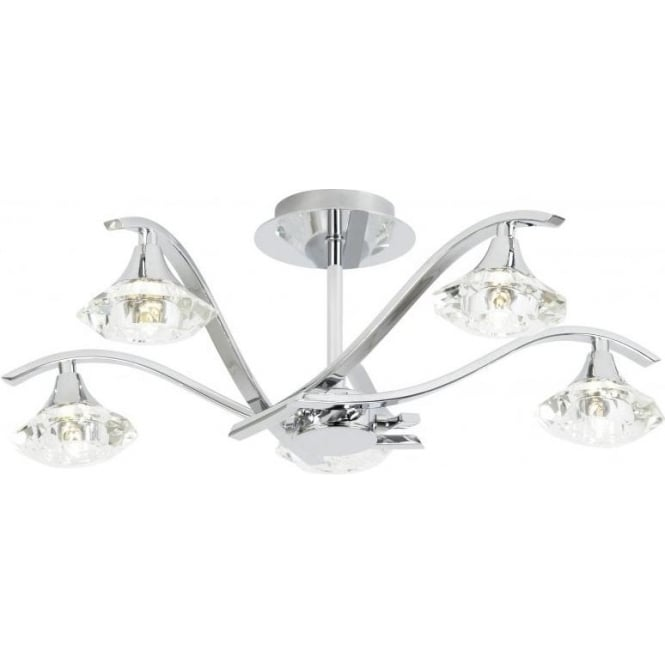 Endon LANGELLA-5CH 5 Light Ceiling Light Polished Chrome