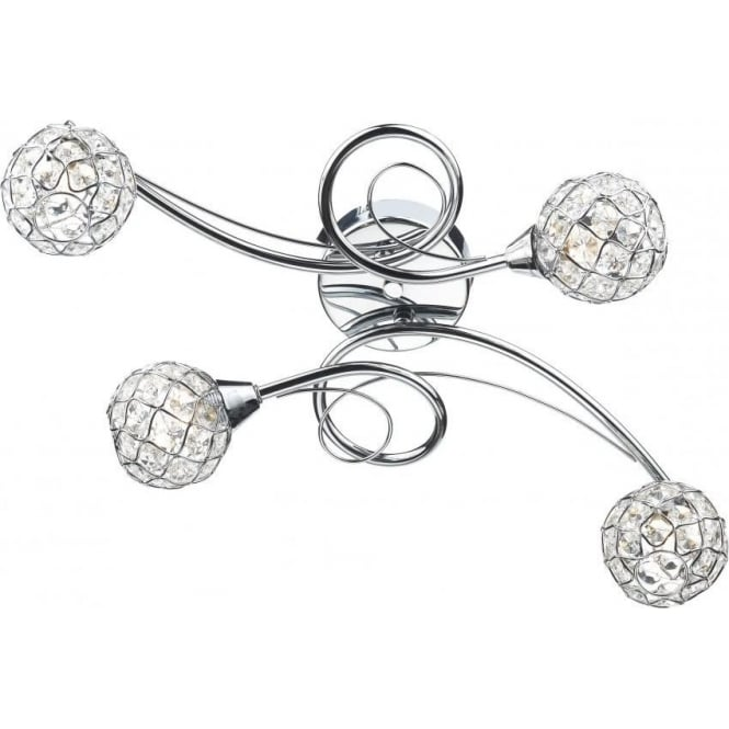 Dar CIR0450 Circa 4 Light Semi-Flush Ceiling Light Polished Chrome