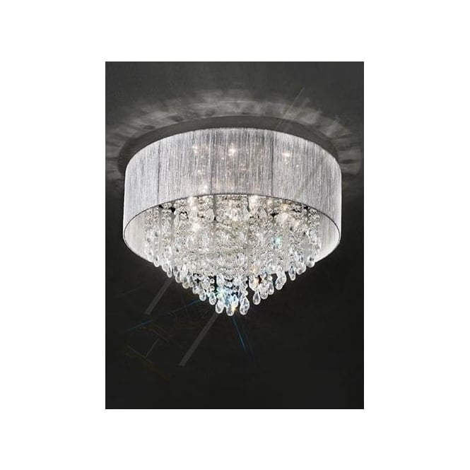 Franklite FL2281/7 Royale 7 Light Crystal Ceiling Light Translucent Silver
