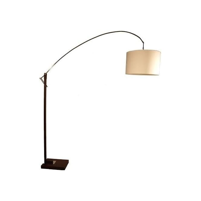 Retro Lighting NYLKOORB 1 Light Floor Lamp Brown Base Polished Chrome