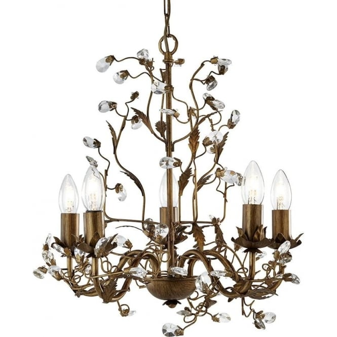 Searchlight 2495-5BR Almandite 5 Light Ceiling Light Brown Gold