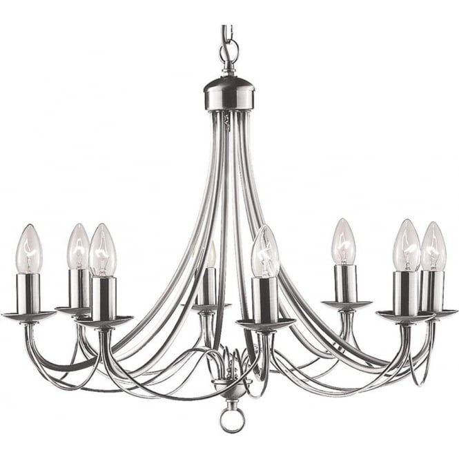 Searchlight 6348-8SS Maypole 8 Light Ceiling Light Satin Silver