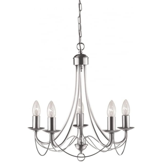Searchlight 6345-5SS Maypole 5 Light Ceiling Light Satin Silver