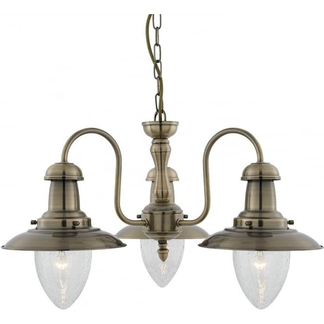 Searchlight 5333-3AB Fisherman 3 Light Ceiling Light Antique Brass