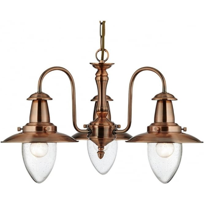 Searchlight 5333-3CU Fisherman 3 Light Ceiling Light Copper