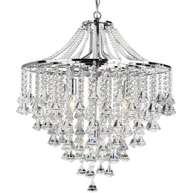 Searchlight 3495-5CC Dorchester 5 Light Crystal Ceiling Light Polished Chrome