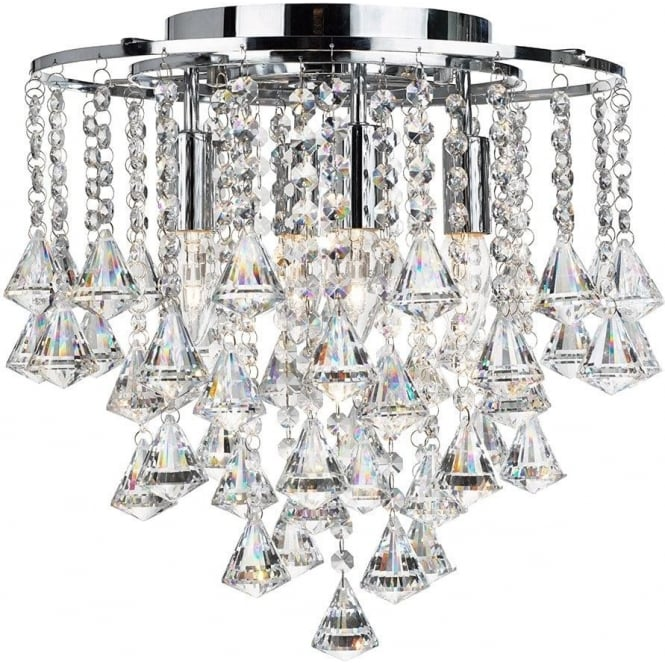 Searchlight 3494-4CC Dorchester 4 Light Crystal Ceiling Light Polished Chrome