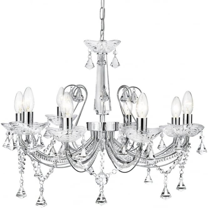 Searchlight 1398-8CC Lafayette 8 Light Crystal Chandelier Polished Chrome