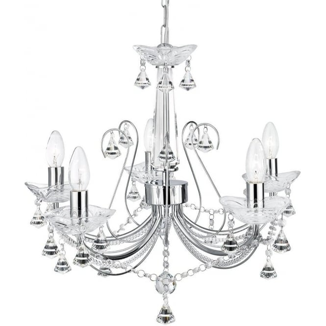 Searchlight 1395-5CC Lafayette 5 Light Crystal Chandelier Polished Chrome