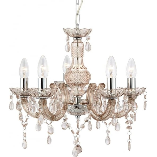 Searchlight 1455-5MI Marie Therese 5 Light Chandelier Polished Chrome