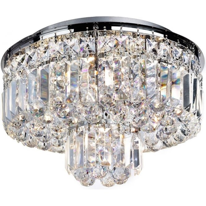 Searchlight 7755-5CC Vesuvius 5 Light Crystal Semi-flush Ceiling Light Polished Chrome