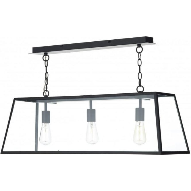 aca0322 academy 3 light ceiling pendant black