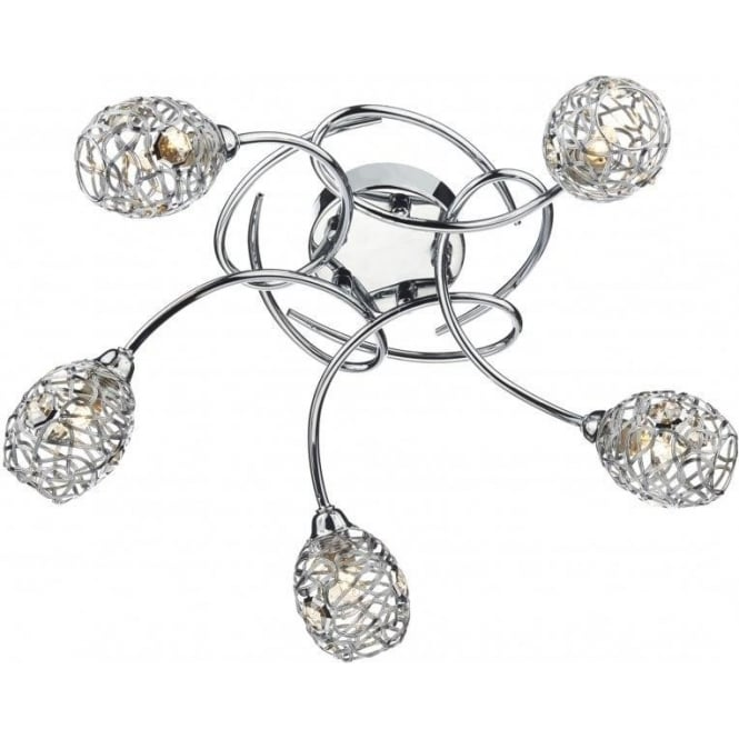 Dar NUM5450 Numero 5 Light Semi-Flush Ceiling Light Polished Chrome