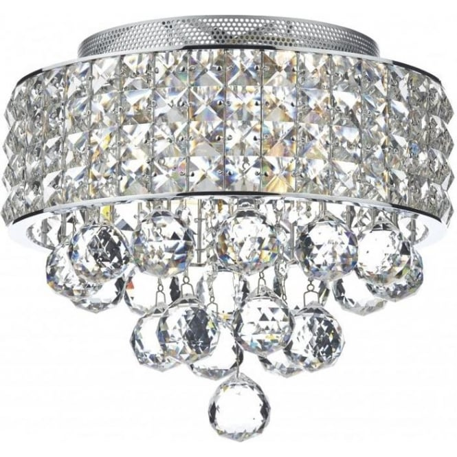 mat5350 matrix 3 light semiflush crystal ceiling light polished chrome