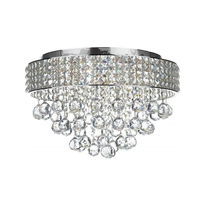 Dar MAT5450 Matrix 5 Light Semi-Flush Crystal Ceiling Light Polished Chrome