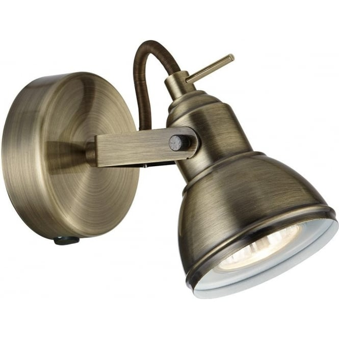 1541AB Focus 1 Light Wall Spotlight Antique Brass. Searchlight 1541AB   Focus 1 Light Antique Brass Wall Light